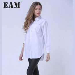 [EAM] 2018 Jesień Lapel Moda Nowy Długie Rękawy Solid Color Niebieskie Paski Długi Akapit Luźne Kobiet Koszula Fala g01605