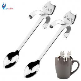 Nowy 2 Sztuk Ze Stali Nierdzewnej Kawy i Herbaty Łyżka Mini Cat Długim Uchwytem Kreatywny Gadżet Sztućce Łyżka Narzędzia Kuchenn