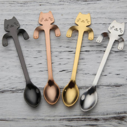Sprytny Kot Łyżeczki łyżki Ze Stali Nierdzewnej Kot Kreskówka Twórczy Deser Lodowy Długim Uchwytem Kawy i Herbaty Łyżka Stołowe