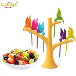 Delidge 6 sztuk + 1 Stojak Ptaki Drzewo Kształt Plastik Warzyw Owoców Widelec Widelec Deser Owoce Przekąska Widelce Holder Dla P