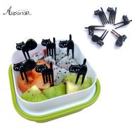 Asipartan 6 sztuk/zestaw Czarny Kot Picks Owoce Deser Przekąska Widelce Widelce Żywności Bento Akcesoria Kuchenne Naczynia