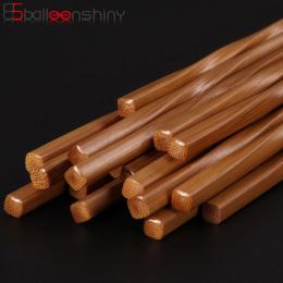 BalleenShiny Handmade Natural Falista Drewniane Pałeczki Zdrowe Chiński Chop Sticks Wielokrotnego Użytku Hashi Sushi Food Stick