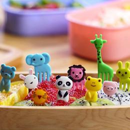 10 sztuk/paczka Animal Farm Owoce Pick Wykałaczka Przekąski Ciasto Deser Widelec Mini Cartoon Dzieci Bento Obiady Strona Dekorac