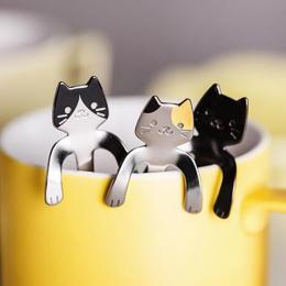 Śliczne Mini Cat Kawy Łyżeczka 304 Wiszące Uchwyt Miarka Łyżka Wielokrotnego Użytku Przenośne Stołowe Ze Stali Nierdzewnej Kuchn