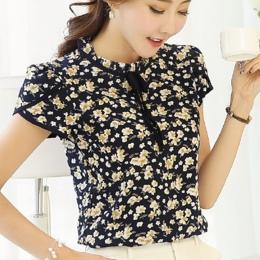 2017 Summer Floral Print Szyfonowa Bluzka Ruffled Collar Łuk Szyi Koszula Płatek Krótki Rękaw Szyfon Topy Plus Size Blusas Femin