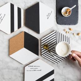 Proste Czarne Białe Drewno Pić Coaster Mata Filiżanka Kawy Herbaty Mody Miękkie Drewniane Podkładki Pad Jadalnia Dekoracji Akces