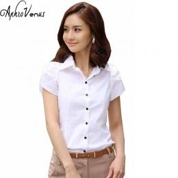 Wysokiej Jakości Moda Damska krótki Rękaw Szyfon Koszula Kołnierz Ścielenia Dorywczo Luźne Kobiet Topy Kobiety Bluzka