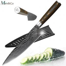 Nóż kuchenny Chef Noże 8 cal Japoński 440C 7CR17 Wysokiej Węgla Ze Stali Nierdzewnej Szlifowanie Laserowe Wzór Warzyw Nóż Santok