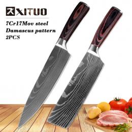 """XITUO 8 """"calowy japoński Imitacja wzór Santoku kucharz nóż Ostry Damaszek noże kuchenne Krojenie Tasak narzędzie EDC Noże"""