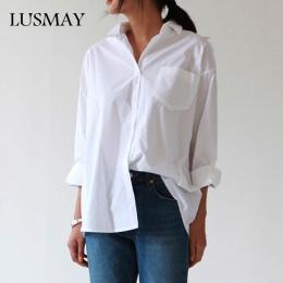 Dorywczo Luźne Koszule Damskie 2018 Nowych Moda Jesień Kołnierz Plus Rozmiar Bluzka Z Długim Rękawem Przyciski Biała Koszula Kob