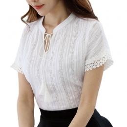 Foxmertor 100% Bawełna Koszula Z Krótkim Rękawem 2018 Lato Kobiety Bluzki Bluzki Solidna Casual Lace Drążą Białe Koszule OL Blus