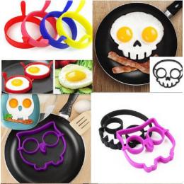 Gorące Śniadanie Omlet Królika Sowa Czaszka Uśmiech Silikonowe Jajkiem Mold Pancake Pierścień Shaper Narzędzia Kuchenne Gadżety