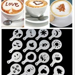16 sztuk/zestaw Cafe Pianka w Sprayu Szablon Barista Szablony Narzędzia Dekoracji Garland Formy Fantazyjne Kawy Kwiat Drukowanie