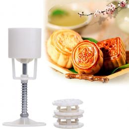 50g 4 + 1 Chińskie kwiaty Mooncake Mold Ręcznie Ciśnienia Formy 1 Baryłkę 4 Znaczki DIY kremówka cukierki Ciasto dekoracyjne Nar