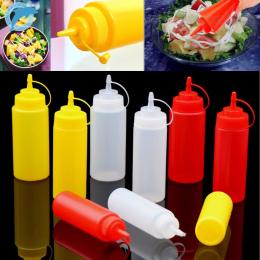 LINSBAYWU 1 Sztuk 8 uncja Plastikowe Kuchnia Oil Ketchup Sos Wycisnąć Butelki Przyprawa Dozownik 220 ml