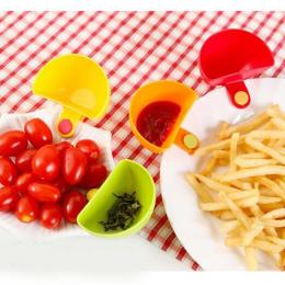 4 Sztuk/partia Przydatne Assorted Sos Sałatkowy Ketchup Dżem Dip Klip Spodek Kubek Miska Naczynia Kuchenne dla Sosie Pomidorowym