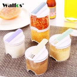WALFOS 5 sztuk/zestaw Kithcne Kreatywny Przejrzyste Puszki Przyprawy Kuchenne Cylindra Butelki Przyprawa Pieprz Spice Rack Okno