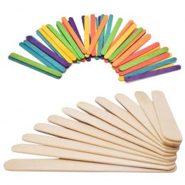 50 Sztuk/partia Kolorowe Drewniane Patyczki Do Lodów Popsicle Kije Naturalnego Drewna Dzieci DIY Ręcznie Rzemiosła Sztuka Lody N