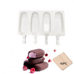 4 Komórek Silikonu Mrożone Lody Mold Popsicle Maker Soku dzieci Lolly Pop Formy Taca Kuchenne Narzędzia + 40 Drewniane kije
