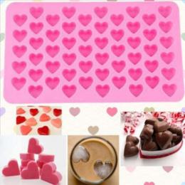 Kuchnia Pieczenia Narzędzia 55 Otwory Słodkie Serce Styl Silikon Chocolate Mold Ice Cukierki Lolly Muffin Formy Valentine Prezen