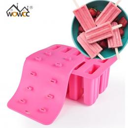 WOWCC 1 pc Dzieciństwa Silikonowe Lody Kostki Z Pokrywą Tacy Popsicle Formy Wielokrotnego Użytku Pop Lolly Mrożone Formy Pan Kuc