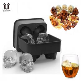 UARTER DIY 4-Jamy 3D Silikon Kostki Lodu Formy Whisky Cocktail Ice Ball Mold Ice Cream Maker Tray Party spooky Bar Czaszki Narzę