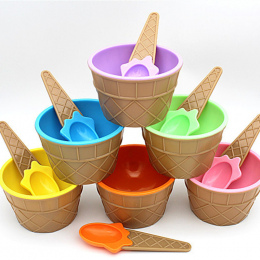 Piękny zestaw miska lodów z łyżką wspaniałe prezent Dla Dzieci miłość Deser lody miski lodów puchar Sześciu kolory