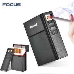 Brand New Ciagrette Holder Box ze Zdejmowanym USB Elektroniczny Bezpłomieniową Wiatroodporny Lżejsze Tytoń Papierosowy Case Zapa