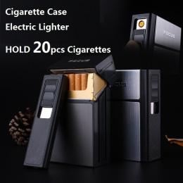 FOCUS Papierośnica Box Zapalniczka z Zdejmowany Elektroniczny Lżejsze Bezpłomieniowe Windproof Torch Zapalniczka 20 sztuk Papier