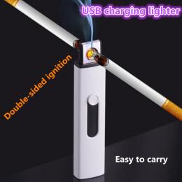Nowy mały Akumulator dwustronne zapalniczki USB Wiatroszczelna bezpłomieniowe elektryczne cygaro Elektroniczne ładowania lżejsze
