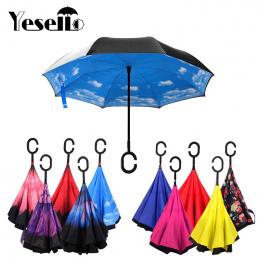 Yesello Składane Odwrotnej Parasol Podwójna Warstwa Odwrócony Wiatroszczelna Deszcz Samochodu Parasole Dla Kobiet