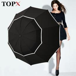 TOPX Duży Najwyższej Jakości Parasol Mężczyźni Deszczu Kobieta Wiatroszczelna Duże Paraguas Mężczyzna Kobiet Słońce 3 Składane D