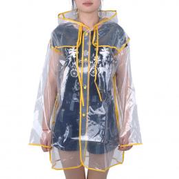 Przejrzyste Deszcz Płaszcz Winylu PVC Wodoodporna Raincoat Zewnątrz Podróży Runway Kapturem Poncho Deszczu Płaszcze Damskie Prze