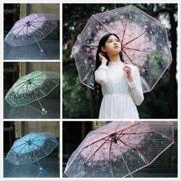 1 pc trzykrotnie Parasol Kobiety Transparent Wyczyść Kwiat Wiśni Sakura Apollo Grzyb składany Parasol Deszcz Parasol 2018