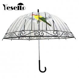 Yesello 1 SZTUK Plastikowe EVA Przezroczyste Deszczowe Parasole Ładny Ptak Klatka Parasol Z Długim uchwytem Wyczyść Bubble Paras