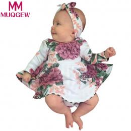 MUQGEW 2 sztuk Maluch Dzieci Dziewczyna Floral Print Dress + Pałąk Outfits Ubrania Zestaw roupa infantil menina roupa de bebe te
