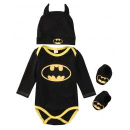 2017 Lato Śliczne Batman Noworodka Boys Baby Pajacyki Dziecięce + Buty + Hat 3 Sztuk Outfit Odzież Boys Baby Zestaw