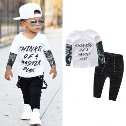 MUQGEW Baby Boy Ubrania Noworodka Baby Boy List Tatuaż T koszula Bawełniana Z Długim Rękawem V-Neck Topy Spodnie Outfits Ubrania