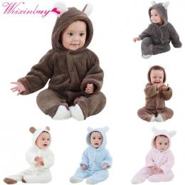 Baby Pajacyki Newborn Baby Girl Ubrania Ustawić Śliczne 3D Niedźwiedź Ucha Kombinezon Baby Boy Ubrania Zestaw Jesień Zima Ciepłe
