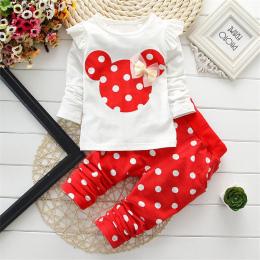 Newborn Baby Girl Odzież 2018 Wiosna Jesień Polka Dot Długi Rękaw T-shirt + Spodnie Dzieci Sprzętu Bebes Jogging Dresy Garnitury