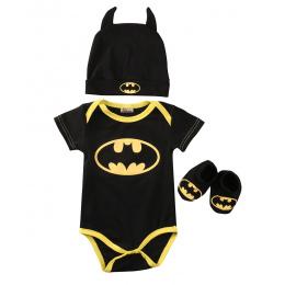 Noworodek Berbeć Buty Boys Baby Ubrania Bodysuit Hat Batman Stroje Zestaw Dla Niemowląt Dzieci Dzieci Boy Odzież Body Bawełniane