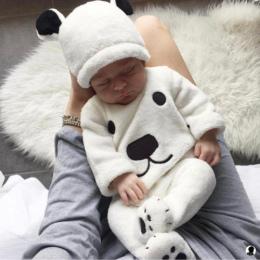 3 Sztuk Newborn Baby Dziewczyny Chłopiec Z Długim Rękawem Swetry Top Spodnie Footies Kapelusz Stroje Zestaw Puszyste Cute Cartoo