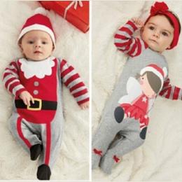 Boże narodzenie Prezenty Baby pajacyki 2016 jednoczęściowe Kostiumy dla dzieci z długim rękawem wiosna jesień dziecko nosić odzi