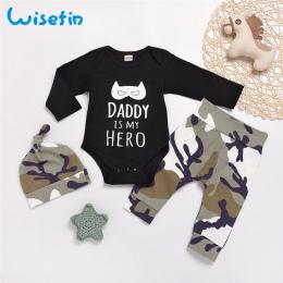 Wisefin Niemowląt Chłopiec Pełna Stroje Camo Noworodka Odzież Zestaw Dla Chłopca Tata Z Długim Rękawem Jesień Maluch Baby Boy Ub