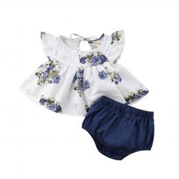 MUQGEW Noworodka Dziewczynka Odzież 2018 Floral Koszulka Sukienka Topy Szorty Spodnie Ubrania Strój 2 sztuk Zestaw roupa infanti