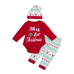 3 sztuk Christmas Baby Boy Ubrania List Dziecko Dziewczyna odzież Mój Pierwszy Boże Narodzenie Dziewczyny Newborn Stroje Zestaw