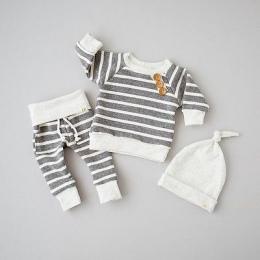 2017 Szary bawełna Newborn Baby Dziewczyny Ubrania W Paski Tshirt Topy + Spodnie Legginsy hat Outfit 3 SZTUK Zestaw Ubrań Dla Dz