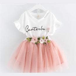 3-8Years Dziewczyny Lato Odzież Ustawia, dziecko Dzieci Wzór List T-shirty & Floral Tulle Tutu Spódnica 2 sztuk Ustawia Darmowa