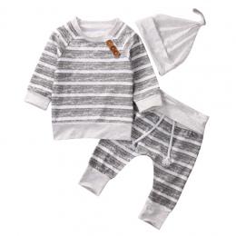 3 sztuk!! 2017 Zestawy Odzieżowe Dla Niemowląt Jesień Chłopców Odzież Dla Niemowląt Niemowlę Dziecko Paski Topy t-shirt + spodni