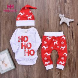 Zima odzież niemowlęca Romper długim rękawem o-neck Topy + Spodnie stroje świąteczne Deer Stroje Cartoon Zestaw Chłopiec Dziewcz